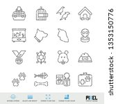 vector line icon set. pets...