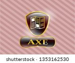 gold shiny badge with brochure ...   Shutterstock .eps vector #1353162530