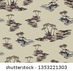 deserted island pattern with... | Shutterstock .eps vector #1353221303