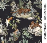 Stock photo watercolor tropical pattern with a leopard animal a leopard with a cub lying on the beds birds of 1353225383