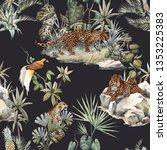watercolor tropical pattern... | Shutterstock . vector #1353225383