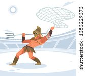 gladiator in the arena with a... | Shutterstock .eps vector #1353229373