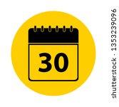 30 calendar yellow vector icon  ... | Shutterstock .eps vector #1353239096
