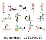 many people go in for sports. | Shutterstock .eps vector #1353249260