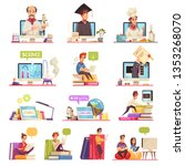 online learning video training... | Shutterstock .eps vector #1353268070