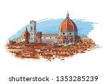 florence  italy cityscape with... | Shutterstock .eps vector #1353285239