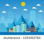 flat design city landscape... | Shutterstock .eps vector #1353302783