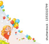 girl holds balloons in her... | Shutterstock .eps vector #1353310799
