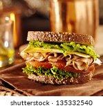 deli meat sandwich with turkey... | Shutterstock . vector #135332540