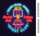 basketball club neon design or... | Shutterstock .eps vector #1353335960