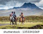vacquero on horseback in... | Shutterstock . vector #1353341069
