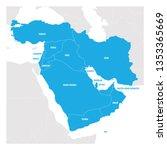 west asia region. map of... | Shutterstock .eps vector #1353365669