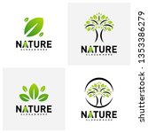 set of nature leaf green logo... | Shutterstock .eps vector #1353386279