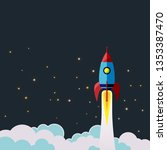 rocket take off into space... | Shutterstock .eps vector #1353387470