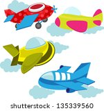 set of cute airplanes | Shutterstock .eps vector #135339560