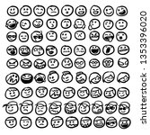 set of emoticon hand drawn... | Shutterstock .eps vector #1353396020