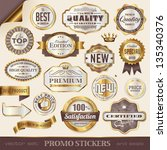 golden promo stickers  labels... | Shutterstock .eps vector #135340376