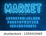 neon light alphabet  extra... | Shutterstock .eps vector #1353415469