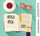 world book day  open book with... | Shutterstock .eps vector #1353427970