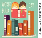 world book day  girl and boy... | Shutterstock .eps vector #1353429350