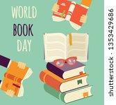 world book day  stack of books... | Shutterstock .eps vector #1353429686