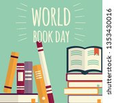 world book day  stacks of books ... | Shutterstock .eps vector #1353430016