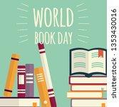 world book day  stacks of books ... | Shutterstock .eps vector #1353430016