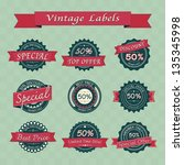 collection of vintage retro... | Shutterstock .eps vector #135345998