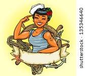 sailor girl logo design  vector ...   Shutterstock .eps vector #135346640