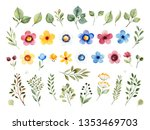 colorful floral collection with ... | Shutterstock . vector #1353469703