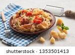 classic pasta carbonara  with...   Shutterstock . vector #1353501413