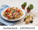 classic pasta carbonara  with...   Shutterstock . vector #1353501419