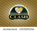 gold shiny emblem with heart... | Shutterstock .eps vector #1353509246