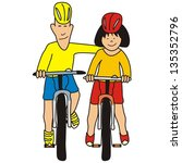 two cyclist, vector conceptual illustration, father and daughter - stock vector
