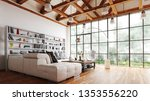 spacious living room with... | Shutterstock . vector #1353556220