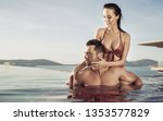 young couple relaxing in an...   Shutterstock . vector #1353577829