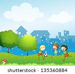 illustration of the three kids...   Shutterstock . vector #135360884
