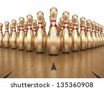 Golden Bowling Pins on white background, Clipping path included. - stock photo