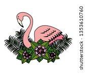 elegant flamingo bird with... | Shutterstock .eps vector #1353610760