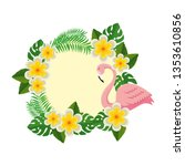 elegant flamingo bird with... | Shutterstock .eps vector #1353610856