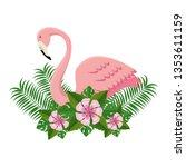 elegant flamingo bird with... | Shutterstock .eps vector #1353611159