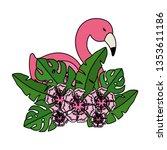 elegant flamingo bird with... | Shutterstock .eps vector #1353611186