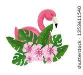 elegant flamingo bird with... | Shutterstock .eps vector #1353611540