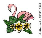 elegant flamingo bird with... | Shutterstock .eps vector #1353611543