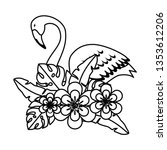 elegant flamingo bird with... | Shutterstock .eps vector #1353612206
