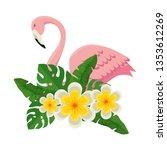 elegant flamingo bird with... | Shutterstock .eps vector #1353612269