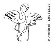 elegant flamingos birds couple | Shutterstock .eps vector #1353613199