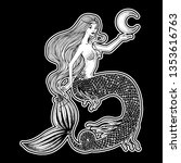 beautiful mermaid with the moon ... | Shutterstock .eps vector #1353616763