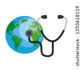 earth planet with stethoscope... | Shutterstock .eps vector #1353618119