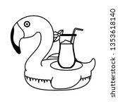 elegant flamingo bird float... | Shutterstock .eps vector #1353618140